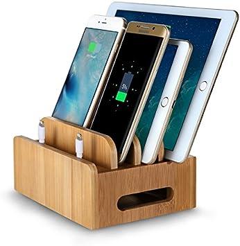 FeBite Bamboo Madera Multi-dispositivo de carga Estación de carga ...