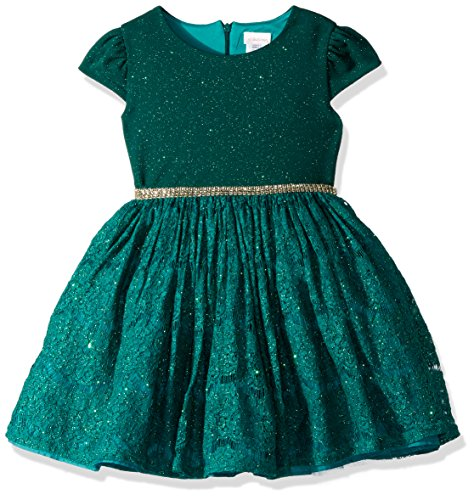 Sparkle Knit Dress (Youngland Little Girls' Sparkle Knit To Lace Party Dress, Emerald, 5)