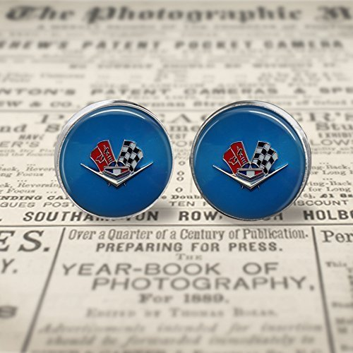 - Vintage Corvette Emblem Stud Earrings- silver