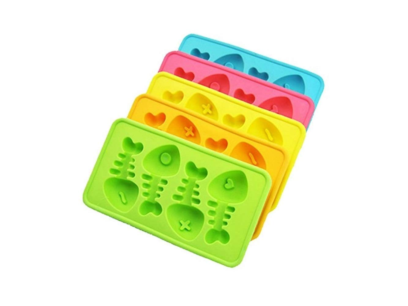 Gelaiken Fish Bone Ice Moulds Silicone Ice Trays Ice Cube Moulds for Cool Drinks Decoration(Random Color) Mold Ice Molds