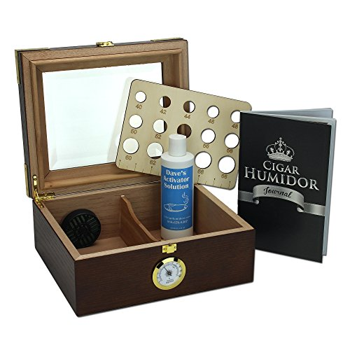 Walnut Cigar Humidor Set for 50 Cigars with Glass Top by Che