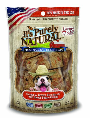 Biscotti Treats (Loving Pets Products It's Purely Natural Chicken and Brown Rice Biscotti with Sweet Potato Dog Treat,)