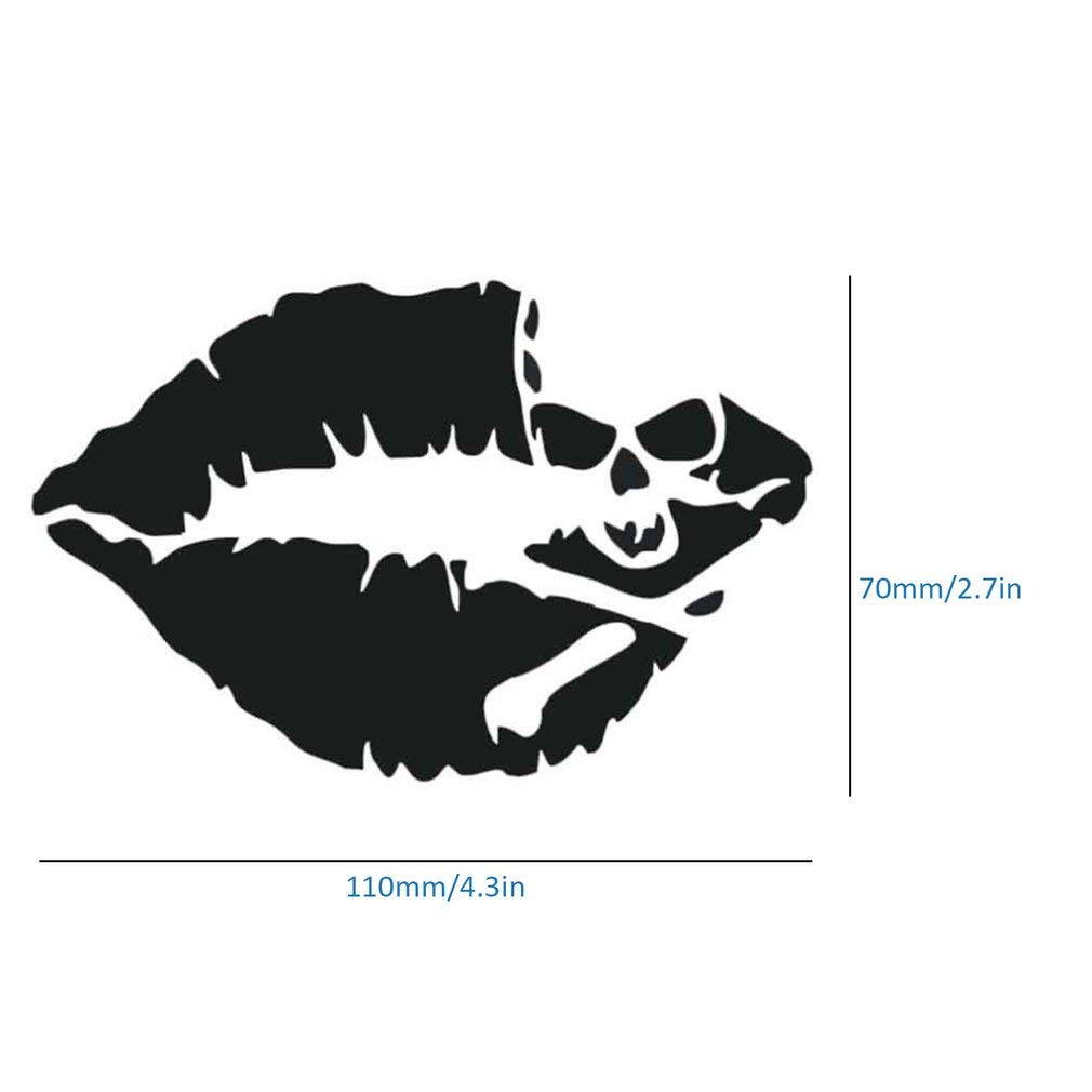 Skull /& Lip Car Stickers Reflective Side Door Lips Vinyl Decal Car Stickers for Window Car Truck Laptop Tool Box