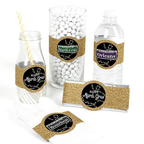 Mardi Gras - DIY Party Supplies - Masquerade Party DIY Wrapper Favors & Decorations - Set of 15