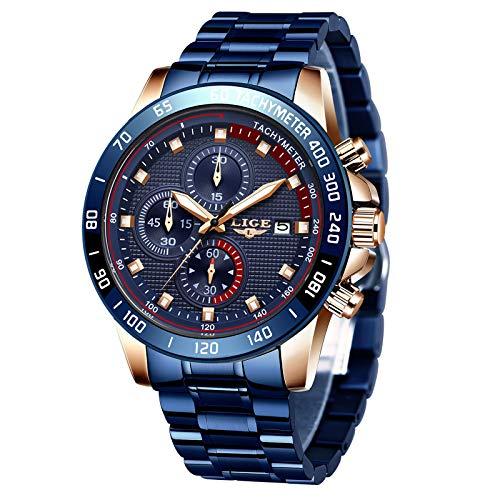 LIGE Mens Watches Waterproof Stainless Steel Business Dress Analog Quartz Wrist Watch