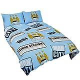 Manchester City FC Official Patch Football/Soccer Crest Duvet Cover Bedding Set (Twin) (Sky Blue)