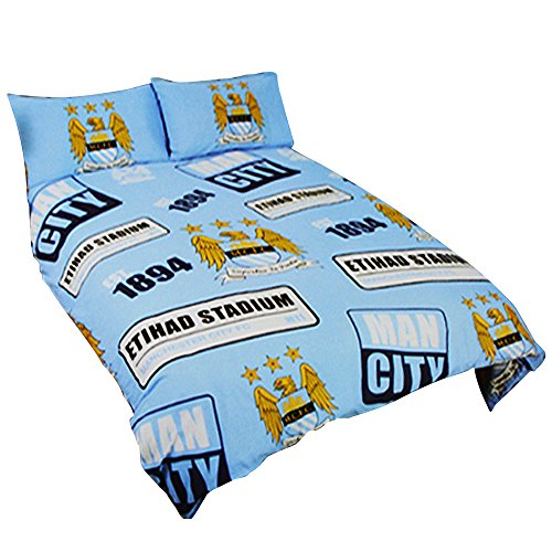 Manchester City FC Official Patch Football/Soccer Crest Duvet Cover Bedding Set (Twin) (Sky Blue) by Manchester City F.C.
