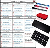 Magnetic Weekly Planner Whiteboard - Fridge, Wall or Cupboard Mounting System, Ideal for Activities, Reminders, Meals - Includes 8 Reusable Sticky Pads, Accessories Board, 3 Dry Wipe Markers & Eraser