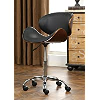 Roundhill Furniture OF2011BK Soglio Modern Faux Leather Height Adjustable Swivel Office Chair, Black