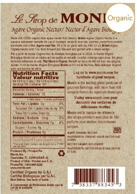 Monin Organic Agave Syrup , 750 ml