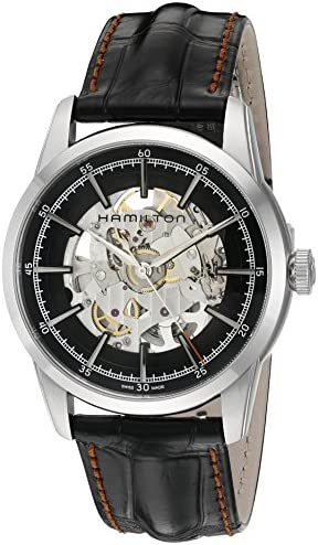 Hamilton Men s Timeless Classic Swiss Automatic Stainless Steel and Leather Dress Watch, Color Black Model H40655731