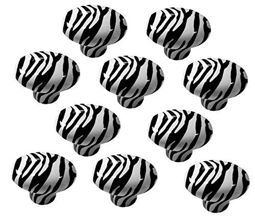 Set of 10 Zebra Animal Print Ceramic Cabinet Drawer Pull - Knobs Drawer Zebra
