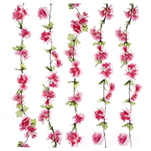 UUPP 2Pcs 7.2FT Artificial Cherry Blossom Flower Garland Silk Fake Flower Hanging Vine for Home Hotel Office Garden Wedding Party Outside Decoration 3