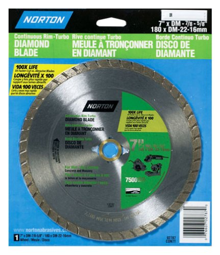 Norton 2787 Diamond Saw Blade 7-Inch Dry Cutting Turbo General Purpose Saw Blade with 5/8-Inch or 7/8-Inch Arbor