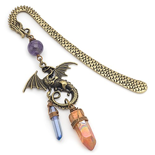 Unique Modern Amethyst Pendant (Amethyst and orange angel aura quartz point gemstone dragon bronze metal unique bookmark)