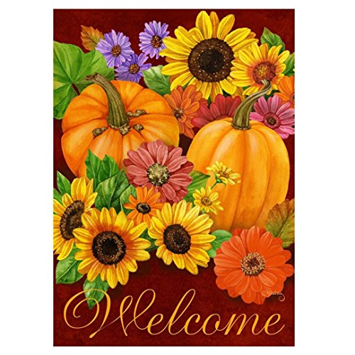 12' Sunflower (Creazy Fall Glory Floral Garden Flag Pumpkins Sunflowers Autumn Garden Flag)