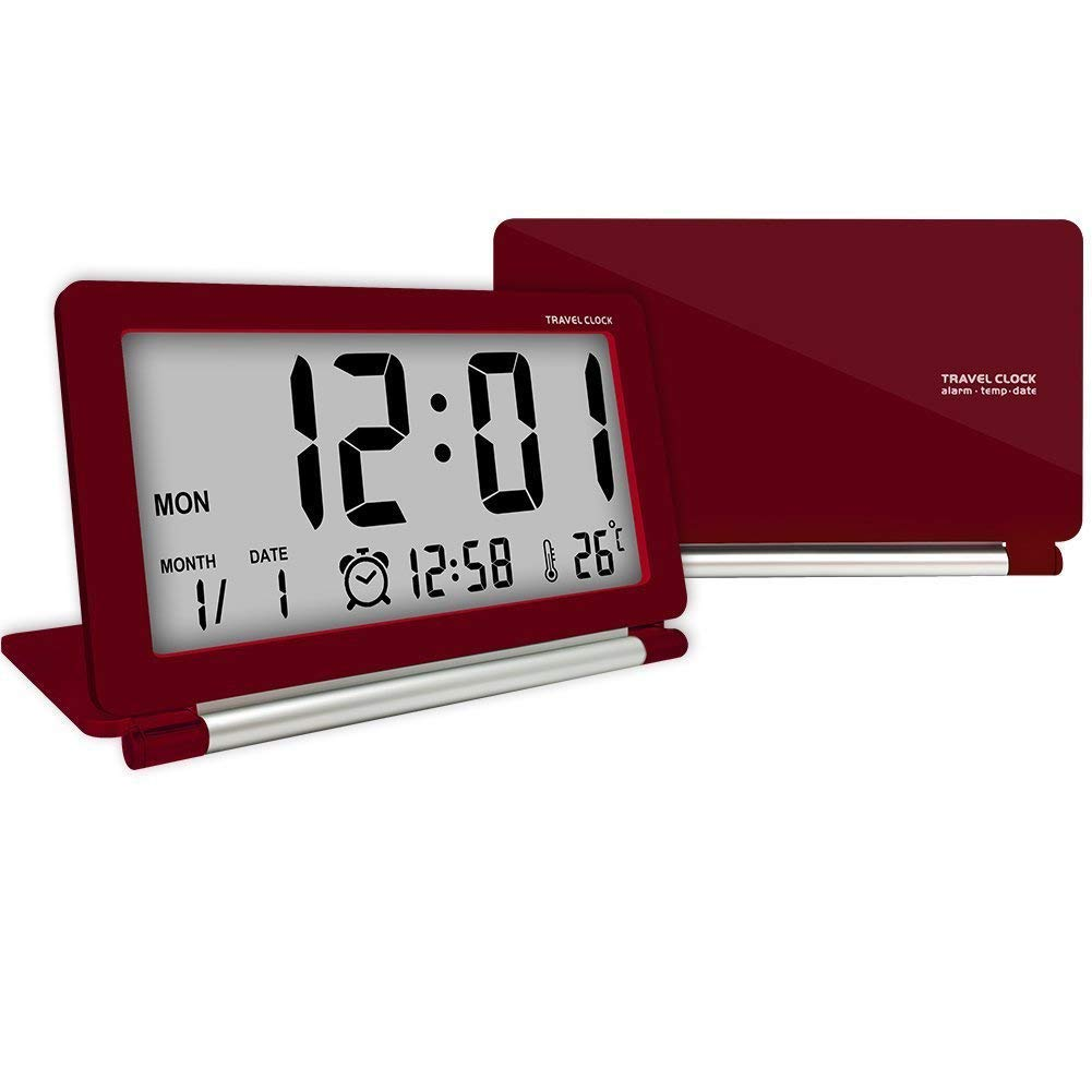 Travel Alarm Clock , MONOLED Ultra-thin clamshell 12/24 Hour LCD with Temperature Date Week Repeating Snooze LCD Digital Screen Alarm Clock & Leather Cover (Red)