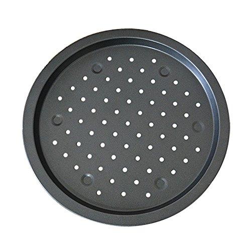 Lautechco 14 inch Large Size Non Stick Round Pizza Oven Pan Baking Tray Carbon Steel Tin (Hole Bake Pan)