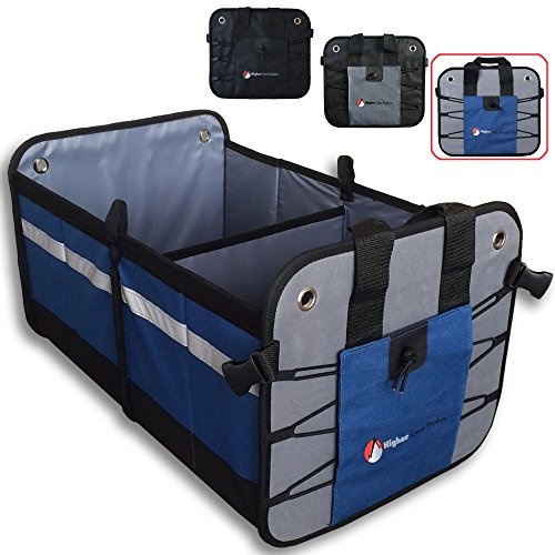 Higher Gear Car Trunk Organizer for Car, SUV, Auto, Truck, Home - Car Storage Organizer Features 2 Interior Compartments, 3 Exterior Pockets, Rigid Folding Bottom, No Slip Feet - Collapsible, Too! -
