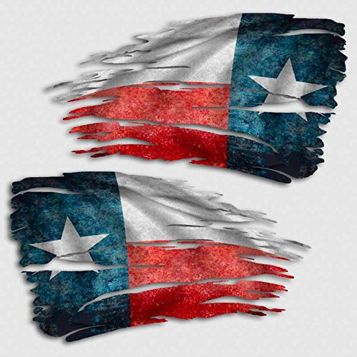 Texas Flag Tattered Decal Set Lone Star Distressed ()