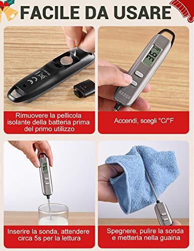 Habor Termometro Cucina Digitale, 5S Lettura Instantanea Auto-Off Termometro da Cucina per Carne, BBQ, Vino, Latte… 6