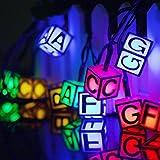 Light Signs String Lights, EONANT Waterproof 20ft 30LED Letter Lights LED Alphabet Solar String Fairy Lights Decorative (Multicolor)