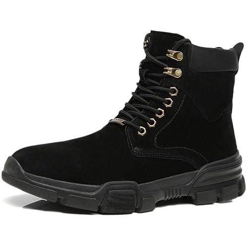 Zapatos De Trabajo para Hombres Entrenadores Impermeables Resistentes Ocasionales Botines Altos De Algodón Zapatos Botas De Nieve De Cuero De Invierno ...