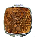 Mechanical Vintage Style Steampunk Print Design - Compact Mirror in Silvertone - Square Shaped - Pocket Sized