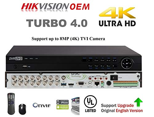 (16 Channel Video Security DVR Digital Recorder, HD TVI 8MP/5MP/4MP/3MP, Pentabrid (5-1) HDTVI/HDCVI/AHD/960H CVBS/IP Analog DVR, HDMI to 4K, H.265 Pro+/H.265/H.264+,(No HD Included))