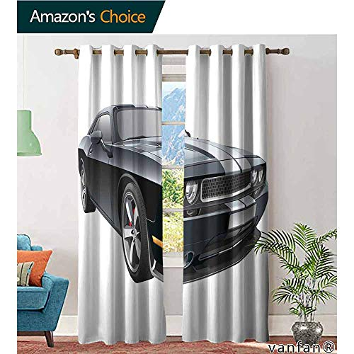 LQQBSTORAGE Cars,Bedroom Curtains 2 Panel Sets,Black Modern Pony Car with White Racing Stripes Coupe Motorized Sport Dragster, Customized Curtains,Black Grey White ()