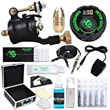Dragonhawk Airfoil V2 Rotary Tattoo Machine Tattoo Kit Tattoo Needles Tattoo Power Supply Foot Pedal Clip Cord with Case 1013-2