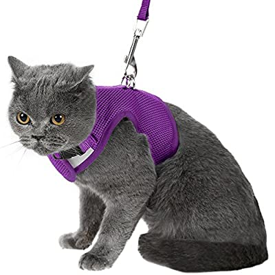 Escape Proof Cat Harness with Leash - Holster Style Adjustable Soft Mesh - Best for Walking Black Medium