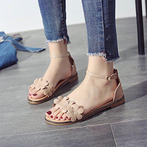 a fondo scarpe antiscivolo sandali toe con Estate spiaggia le a YMFIE bohemien piatto dolci da fiori q4ZRx0wA