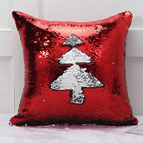 "Axgo Red Bling Decorative Glitzy Sequin & Comfy Satin Solid Throw Pillow Cover Cushion Case for Wedding/Christmas 18"" x 18"", Xmas Tree"