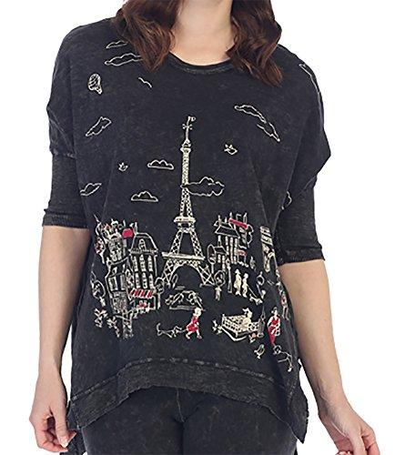 Jess & Jane Women's Parisian Black Mineral Washed Cotton Tunic FULL CUT