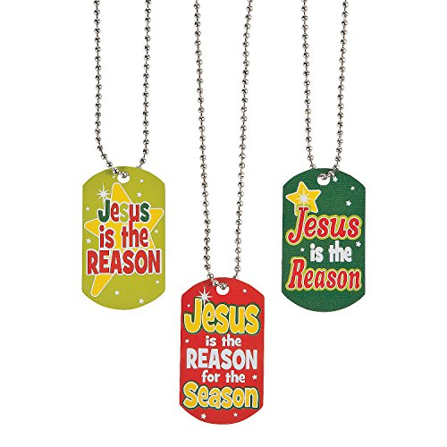 Fun Express - Jesus is The Reason Dog Tag for Christmas - Jewelry - Necklaces - Dog Tag Necklaces - Christmas - 12 Pieces