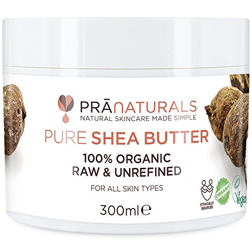 PraNaturals Organic Shea Butter Moisturiser UV Protection For All Skin Types - Reduces Acne, Scars, Stretchmarks, Cellulite, Eczema And Dry Skin (300Ml) ()