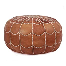 IKRAM DESIGN Moroccan Leather Pouf with Arch Design