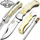 """Best.Buy.Damascus1 Camel Bone 6.5"""" Hand made Stainless Steel Folding Pocket Knife Sliver Bloster with Sharpening Rod Back Lock 100% Prime Quality Review"""