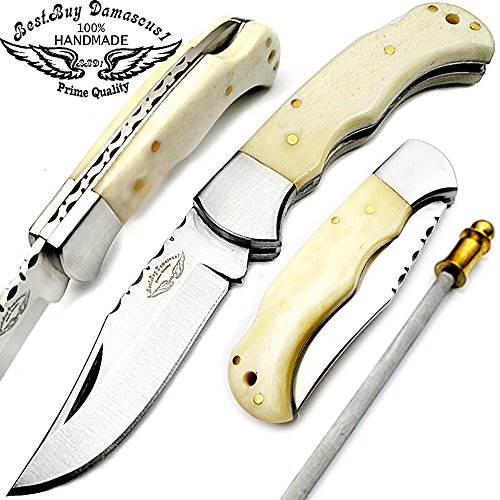 Best.Buy.Damascus1 Camel Bone 6.5 Inch Handmade Stainless Steel Folding Pocket Knife with Sliver Bloster and Back Lock