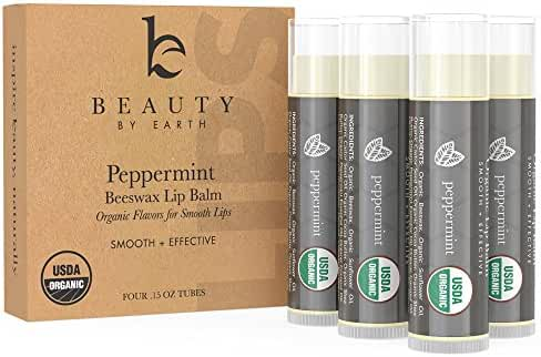 Beauty by Earth Peppermint Beeswax Organic Lip Balm for Moisturizing Dry and Chapped Lips (Pack of 4)