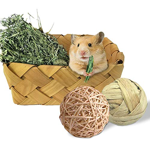 Rabbit Hay Feeder, Hamster Woven Bed House Wicker Balls Chew Toys Natural Nest Box for Guinea Pigs Rats Chinchillas Mice Ferrets Squirrels and Gerbils