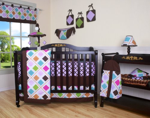 (Boutique Pink Brown Diamond 13PCS CRIB BEDDING SET)