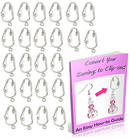 Gold, Silver Clip On Earring Converter Kit-12, 24 Pair Clip Earring Findings, Dangle Earring Converters (Silver 12 Pair & Booklet) (Clip Earring Converter)