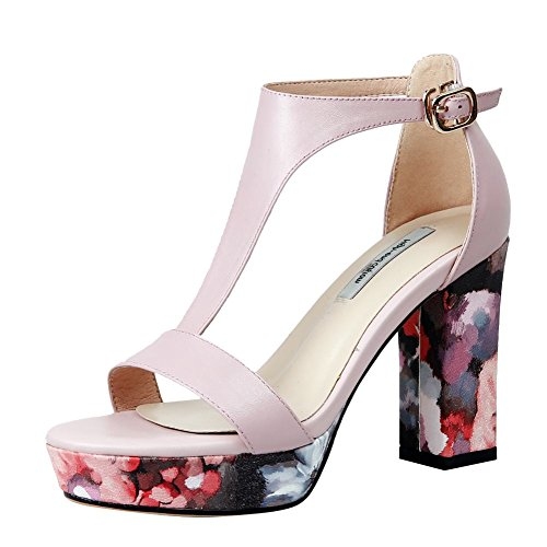 Mee Shoes Women's Fashion Block High Heel Buckle Platform Sandals Pink Hz9oI1NYRi