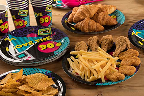 Disposable Dinnerware Set - Serves 24-90s Party Supplies for Kids Birthdays, 1990s Themed Parties, Includes Plastic Knives, Spoons, Forks, Paper Plates, Napkins, Cups by Blue Panda (Image #2)