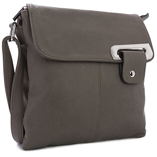 Big Handbag Shop Womens Medium Trendy Messenger Cross Body Shoulder Bag (Dark Grey)