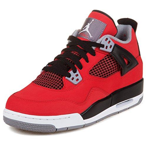 "Nike Boys Air Jordan 4 Retro (GS) ""Toro"" Fire Red/White-B..."