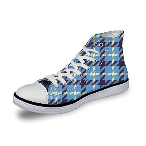 Bigcardesigns Unisex Casual High Top Retro Canvas Skate Shoes Plaid Sneakers Blue OMQGDLy