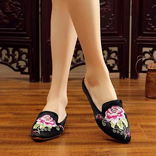 Pantoufles En Vieilles Pour Plates Pékin Hibiscus Brodées Femmes Chaussures Bozevon Noir 6qAgxwF6